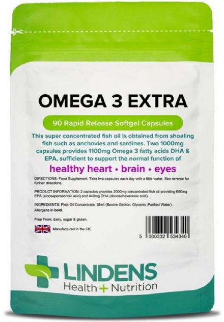 Omega-3 Fish Oil EXTRA; 1000mg x 90 Capsules; EPA/DHA 55%; Lindens